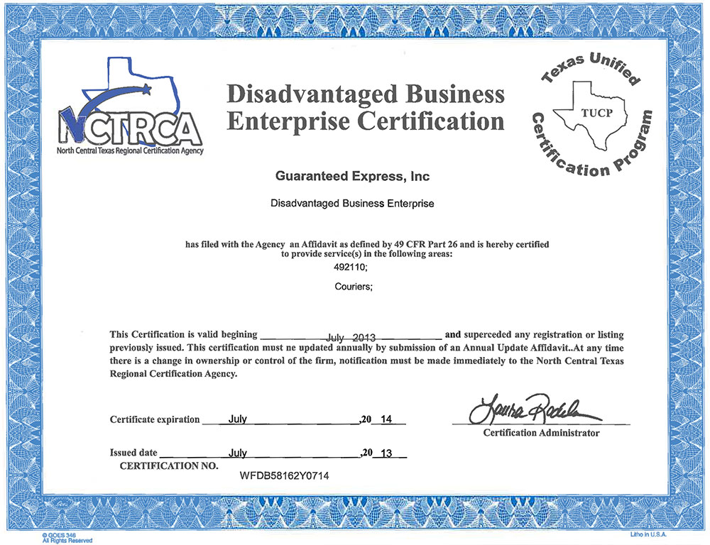 Certifications Insurance Guaranteed Express Inc